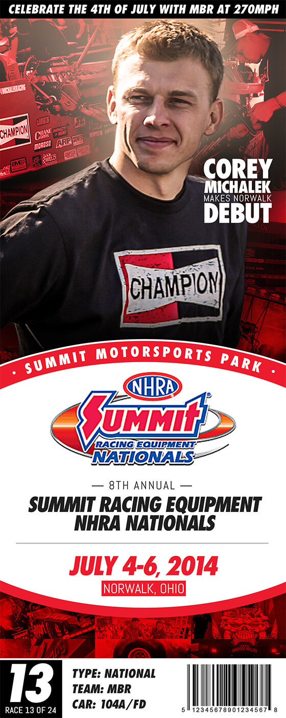 Michalek Brothers Racing 2014 Schedule - Summit Racing Equipment NHRA Nationals