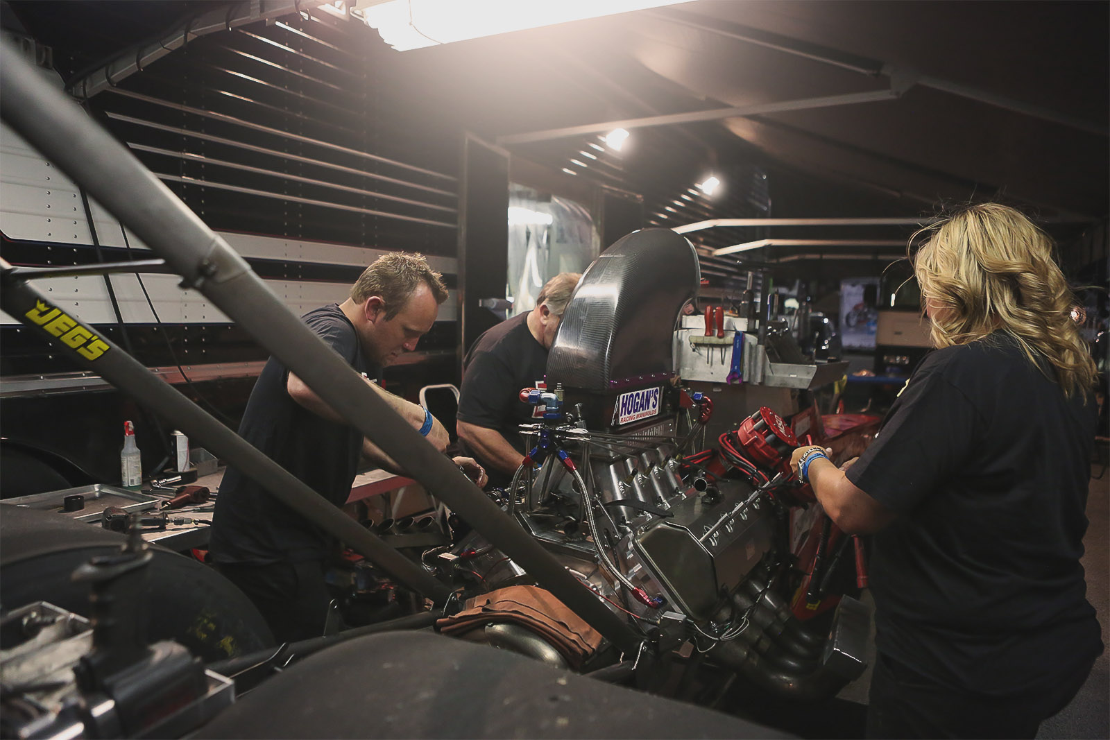 The Dreher Motorsports gang gets their 3,500 horsepower A/fuel dragster buttoned back up and ready for another day of qualifying tomorrow after a stout 5.39 second lap to kick off the weekend.