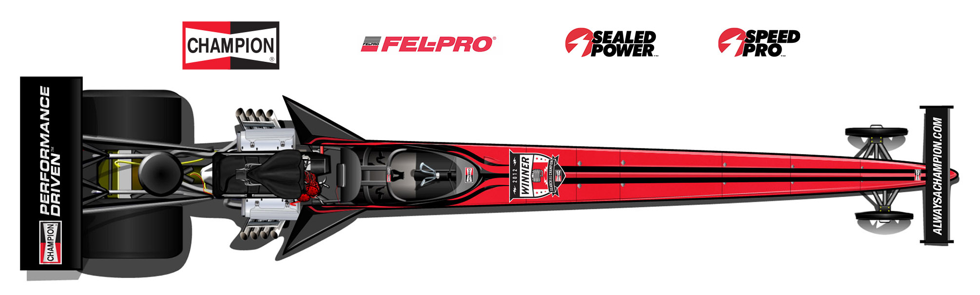 In addition to Champion Spark Plugs, the MBR A/fuel dragster will proudly feature associate signage from Federal Mogul brand partners Fel-Pro, Sealed Power, and Speed Pro.