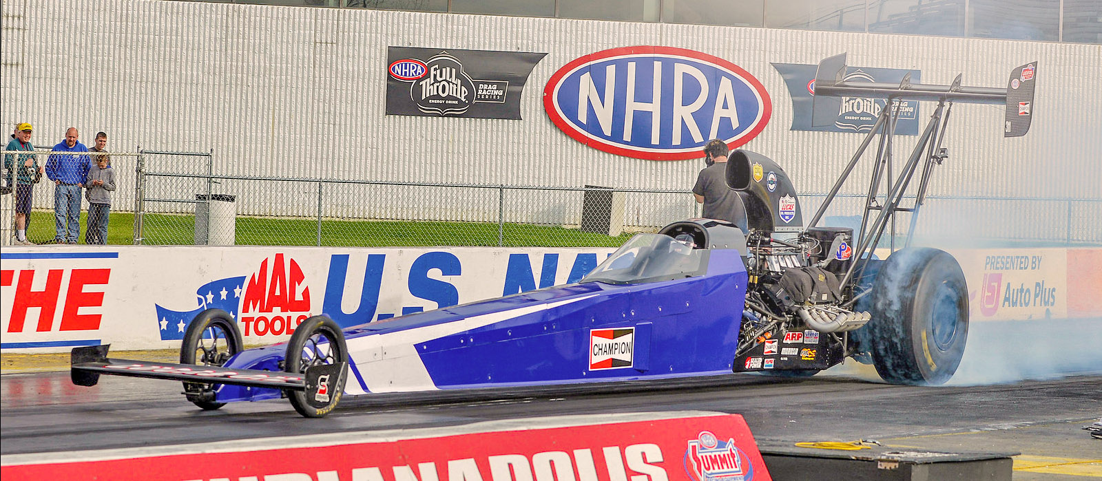 Michalek Brothers Racing driver Kyle Michalek burns out at Lucas Oil Raceway at Indianapolis prior to completing his A/fuel dragster license upgrade.