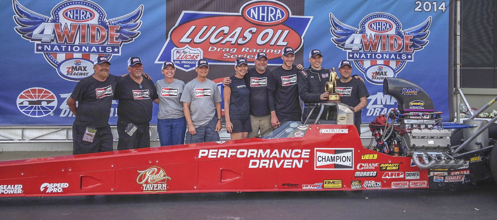 MBR shared the Winner's Circle with the Champion Spark Plugs A/fuel Dragster, Dreher Motorsports, and team family members.