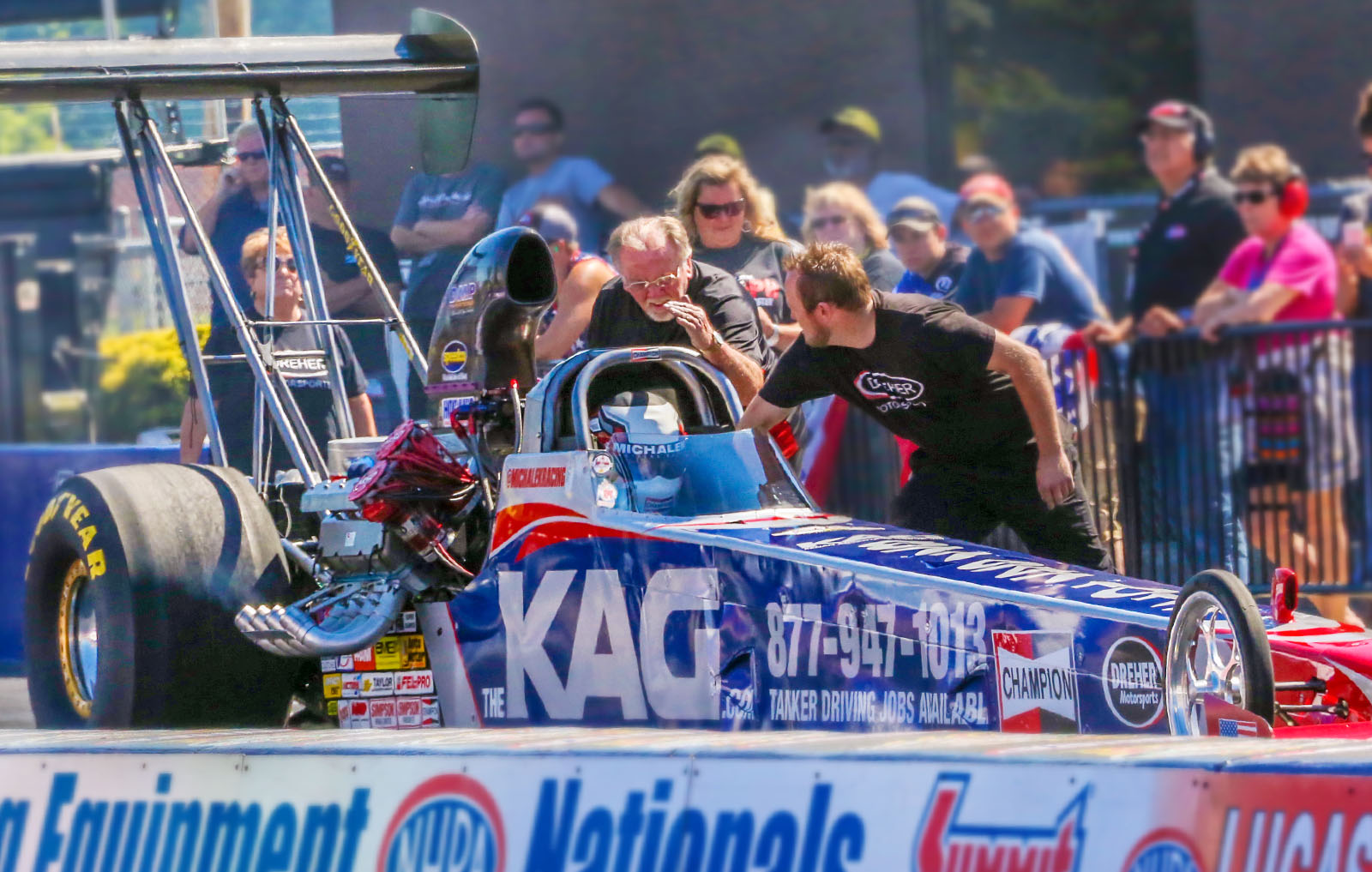 Michalek Brothers Racing will again partner with Randy and Jared Dreher of Dreher Motorsports to field the KAG A/fuel dragster at Charlotte. (Photo credit: David Smith)