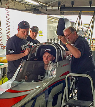 The Dreher Motorsports braintrust of Randy and Jared Dreher tuned the KAG A/fuel dragster to the #2 qualifying position with a 5.299 second lap to kick off the weekend.