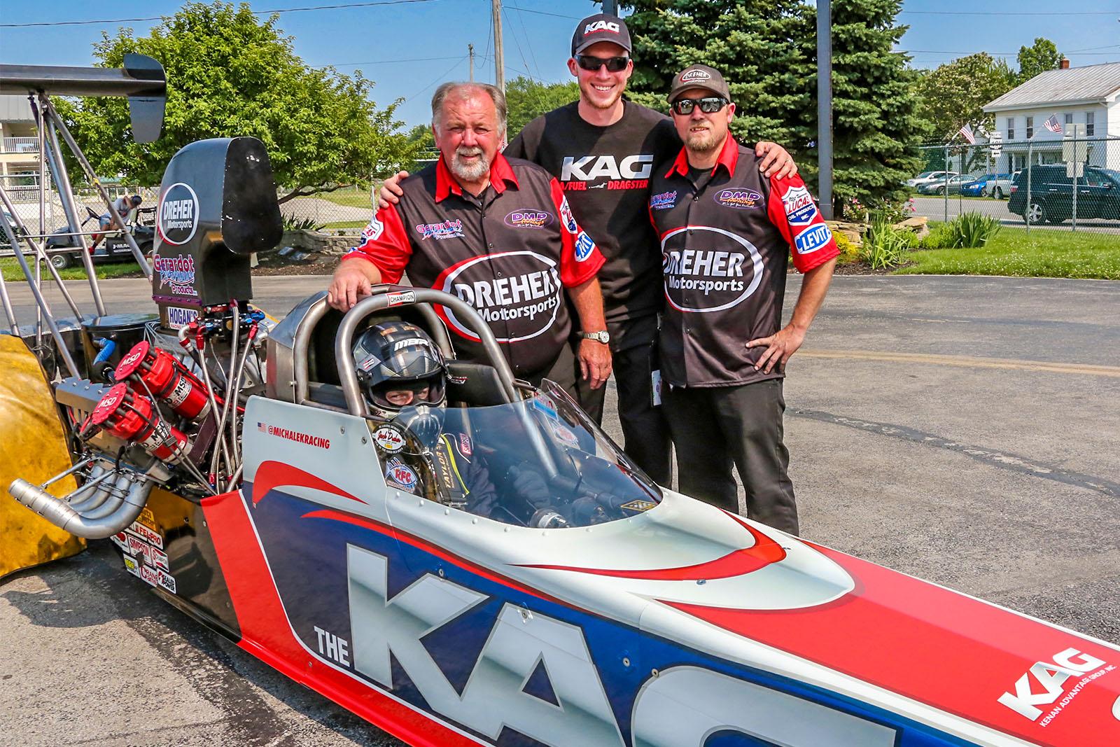 The Michalek Brothers Racing and Dreher Motorsports teammates: Randy Dreher, Kyle Michalek, Jared Dreher, and Corey Michalek.
