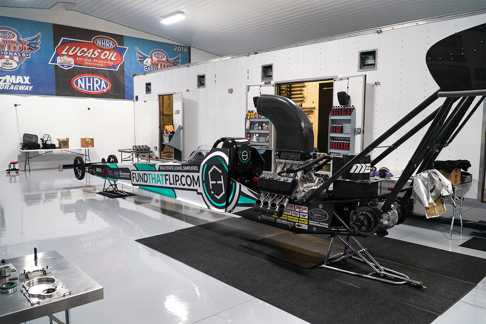Fund That Flip's recent rebrand will be on full display when MBR hits the track with a striking graphics package featuring turquoise chrome vinyl.